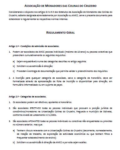AMCC - Regulamento Geral
